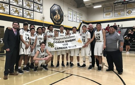 Coach Embry after his 100th win during the 2017-2018 season.
