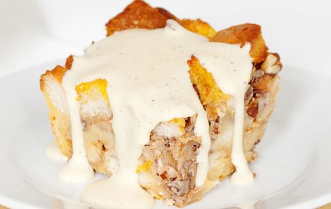 Bourbon pumpkin pecan bread pudding