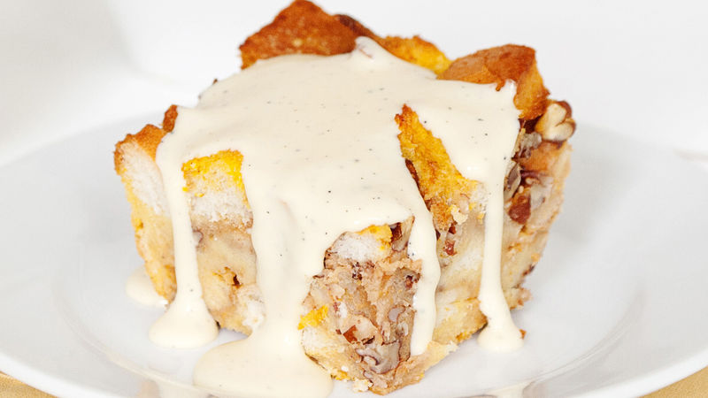 Bourbon Pumpkin Pecan Bread Pudding
